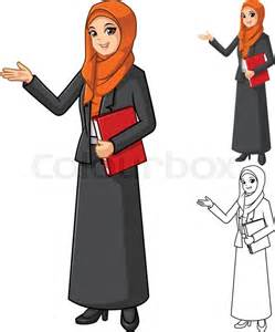 Muslim Business Women Cartoon