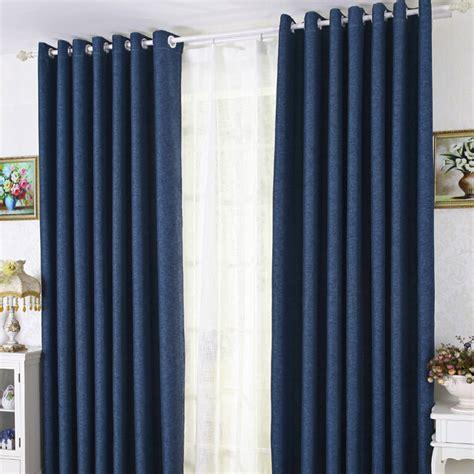 modern linen cotton blue blackout bedroom curtains