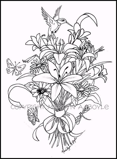 Coloring Pages Of Hummingbirds Coloring Page Bouquet Of Flowers Hummingbird