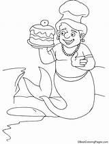 Merman Coloring Cake sketch template
