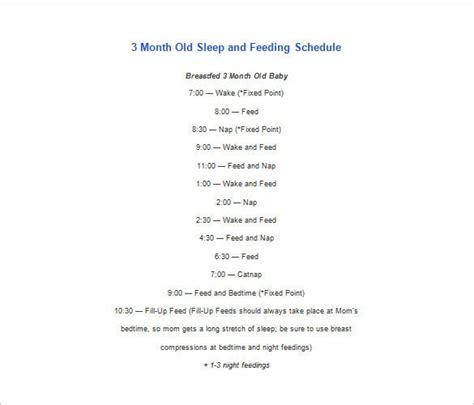 baby schedule templates   word excel  format