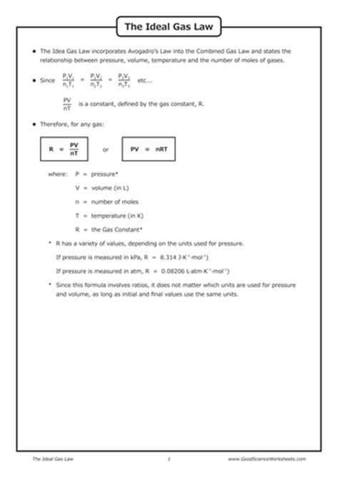 gas laws the ideal gas law by goodscienceworksheets teaching resources tes