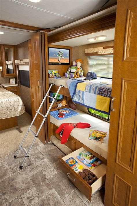 shorter diesel motorhomes with bunk beds bunkhouse diesel pusher rv motorhome reviews