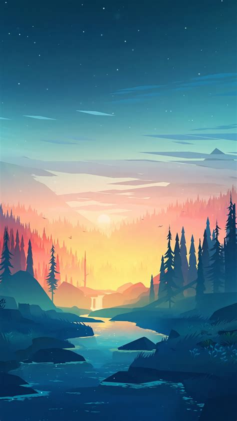 wallpaper forest sunset artwork  art