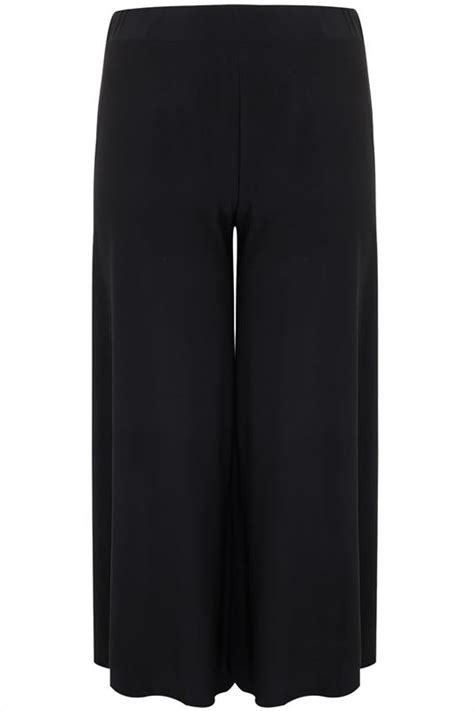 black super wide leg jersey palazzo trousers  size