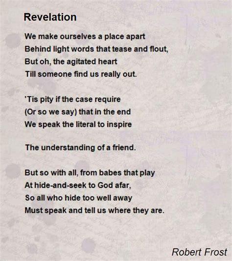 revelation poem  robert frost poem hunter comments