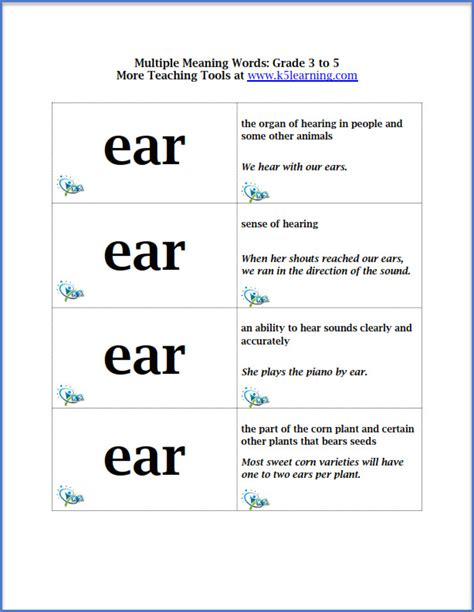 more multiple meaning words flashcards for grade 3 to 5