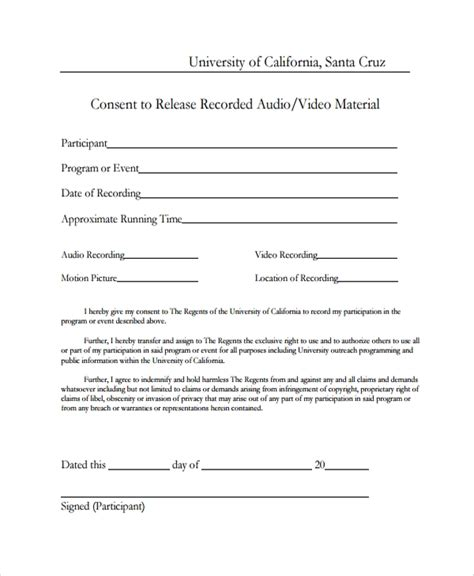 sample video consent form   documents