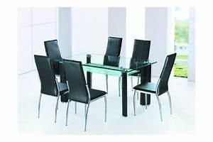 table salle a manger en verre alexandra noir ivoire With salle À manger contemporaineavec table de salle a manger en verre avec rallonge