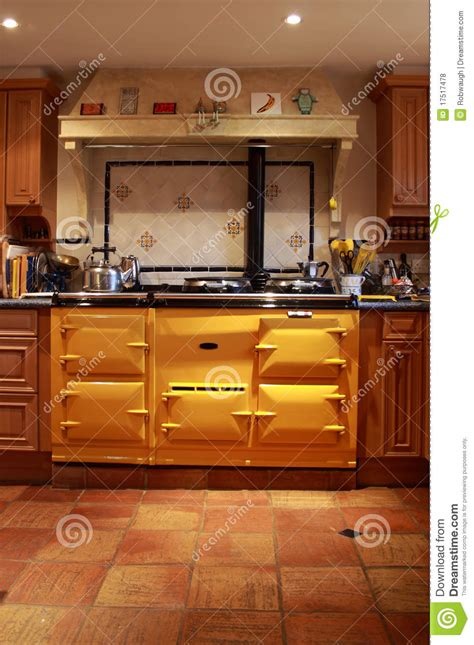 oven kitchen design yellow range oven in a lovely kitchen royalty free stock 6922