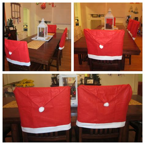 santa clause hat dinner decor chair back