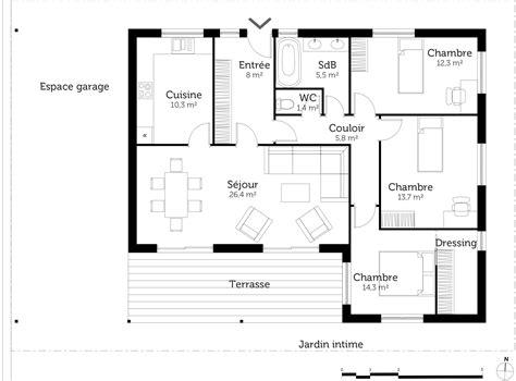 plan de maison plain pied 4 chambres gratuit beau plan de maison 4 chambres gratuit 1 plan au sol