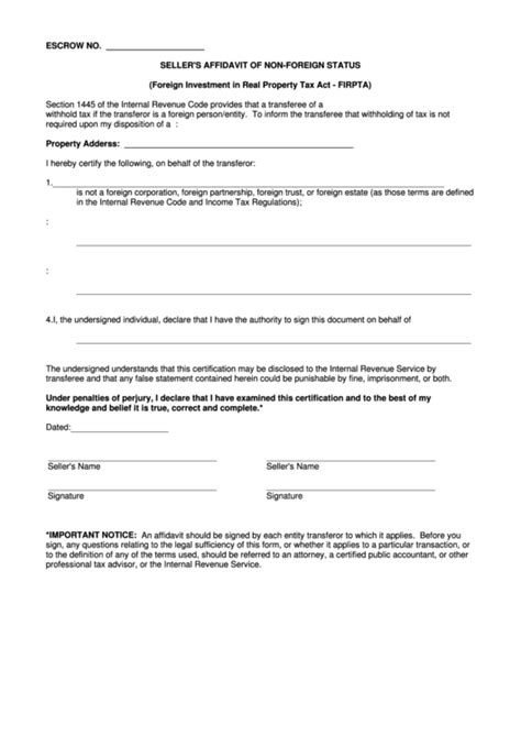 sellers affidavit   foreign status foreign
