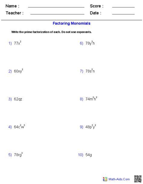 pre algebra worksheets monomials and polynomials worksheets