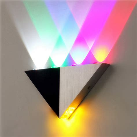 multi color triangle 5w led wall sconce l up