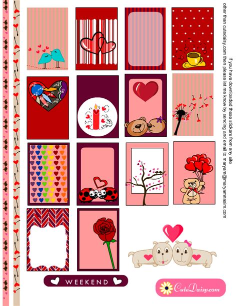 Suitable for apparel, scrapbooks, decals, and many other creative uses. Planner Stickers for Valentine's Day { Free Printable }