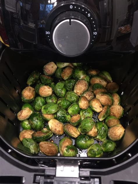 balsamic fryer brussels sprouts air roasted halfway degrees stirring cook minutes through