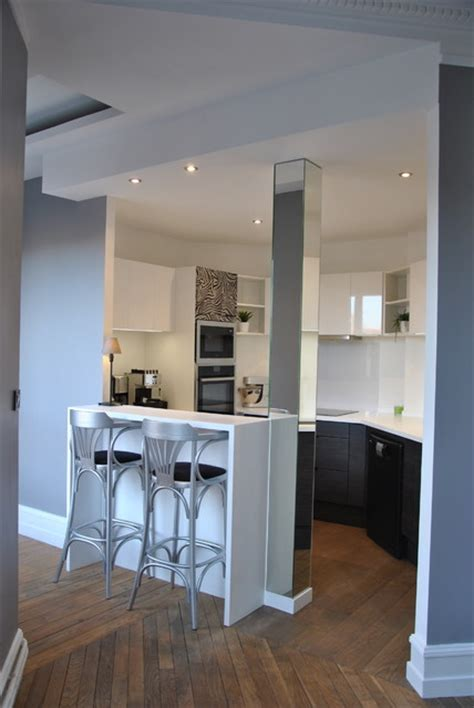 cuisine ouverte sur couloir cuisine en image