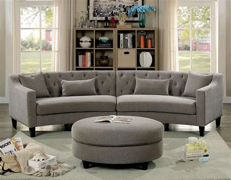 furniture  america  rounded grey tufted sectional sofa