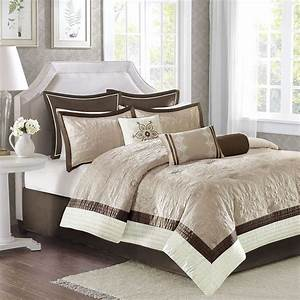 Luxury, 9pc, Brown, Taupe, U0026, Ivory, Quilted, Comforter, Set, And, Decorative, Pillows, Madisonpark