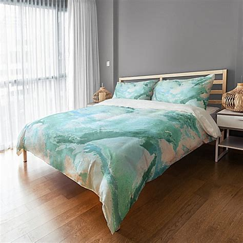 marble watercolor duvet cover bed bath