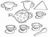 Tea Coloring Printable Alice Wonderland Boston Teapot Drawing Clipart Birthday Sheets Sheet Adults Craft Preschool Trend Princess Table Popular Teacups sketch template