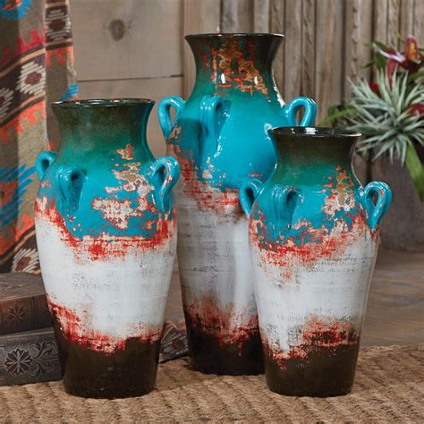 unique kitchen cabinet hardware santa fe teal pottery vases set of 3