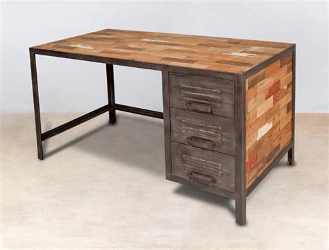bureaux en bois bureau 140cm en bois recyclés 3 tiroirs métal industryal