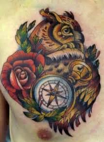 Owl Compass Tattoo