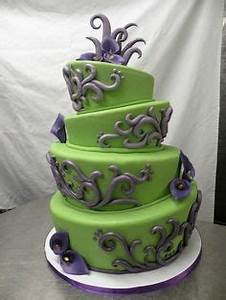 Pretty elegant lime green and purple wedding cake Sugar
