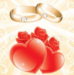 wedding theme with golden rings roses and hearts vector vector colourbox