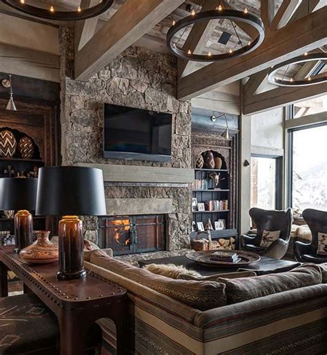 Modern Rustic Living Room Design Ideas by Sumptuous Montana Retreat Featuring Cozy Rustic Modern