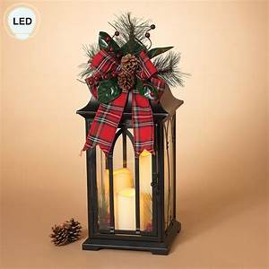 Plaid, Tidings, Lighted, Holiday, Lantern, With, Led, Candles