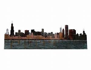 SMW339 Custom Metal Decor Wall Art Chicago Skyline