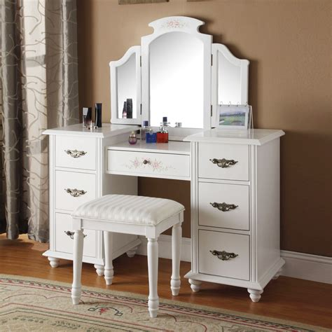 Vanity And Stool Sets by Torian Collection Vanity Makeup Set W Tri Folding