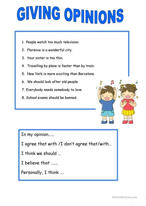 suggestions giving opinions worksheet free esl