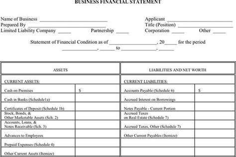 Free business financial statement template costumepartyrun financial statement form download free premium flashek Image collections