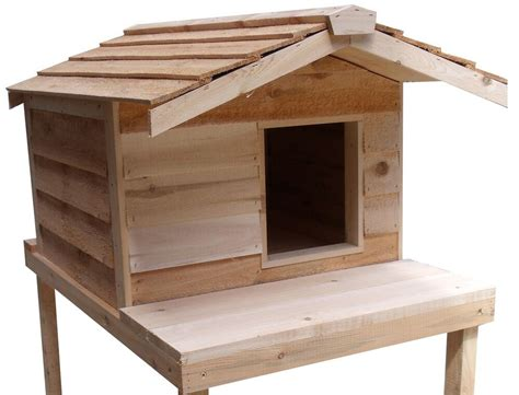 large insulated cedar outdoor cat house  platform ebay