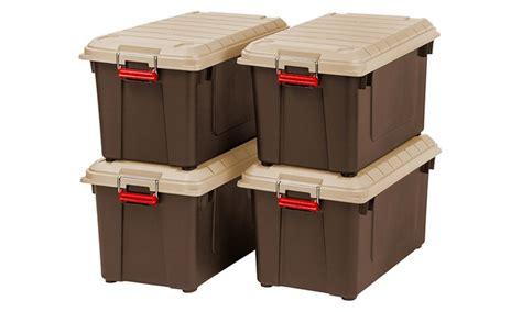weathertight storage tote set of 4 heavy duty weatherproof 21 8gal storage 3371