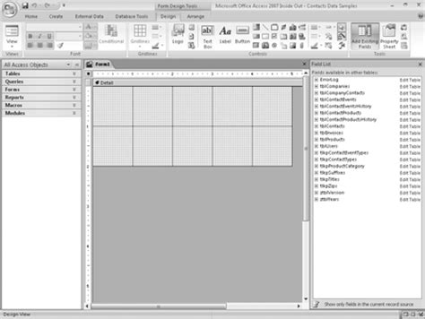 c form design tools build forms in access 2007 using design tools access