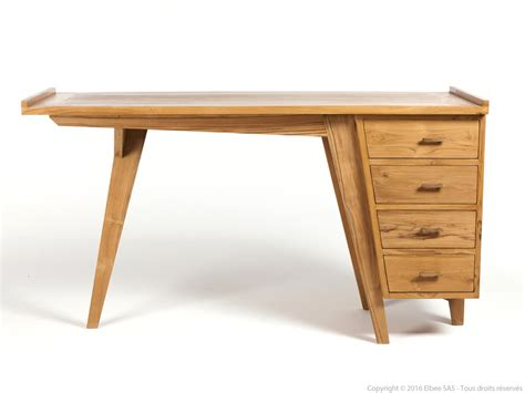 le bureau pas cher bureau 4 tiroirs en teck silke pas cher bureau