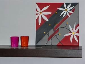Tableau Peinture Sur Toile : tableau fleurs blanches peinture moderne rouge gris dor acrylique sur toile toile and rouge ~ Teatrodelosmanantiales.com Idées de Décoration