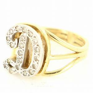 Vintage 14 Karat Yellow Gold Diamond Letter D Initial ...