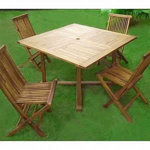 Salon De Jardin 4 Places : ensemble 4 places de jardin en teck huil meuble de jardin ~ Farleysfitness.com Idées de Décoration