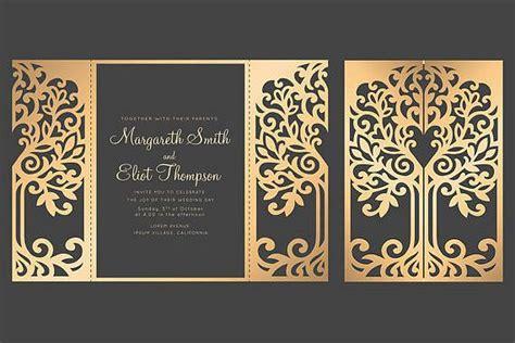 tree gate fold wedding invitation  cricut template