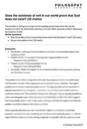 Problem Of Evil Essay by The Problem Of Evil Philosophy A Level