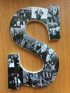 photo collage wooden letter i made for my big sigma With wooden letter photo collage