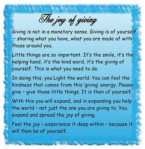 """""""The joy of giving"""" – channelled spiritual message from ..."""
