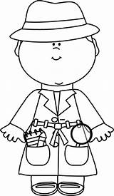 Detective Coloring Clip Pages Boy Cat Theme Crafts Spy Little Clipart Sheets Mycutegraphics Craft Hat Colouring Verse Outline Edit Wearing sketch template