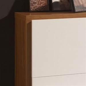 Meuble Bois Et Blanc : meuble chaussures 16 paires blanc et cadre bois deco et saveurs ~ Teatrodelosmanantiales.com Idées de Décoration